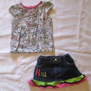 RocaWear 2 Piece T-Shirt & Denim Skirt Outfit